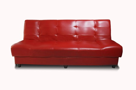 Red sofa on white background Stock Photo
