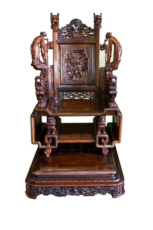 antique chair: Chinese ancient wooden chair Stock Photo
