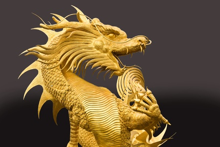 Golden dragon statue photo
