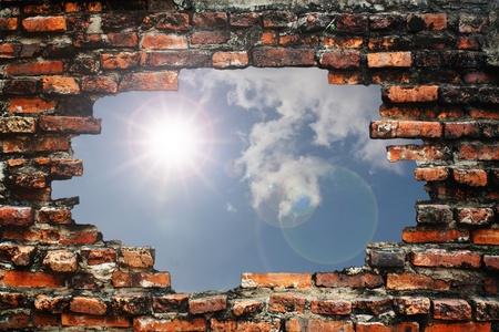 Brick wall and sun