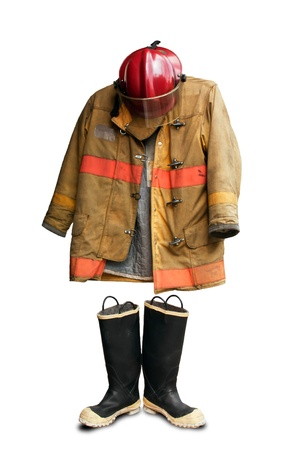 fire place: Grunge fireman suit isolated on white background