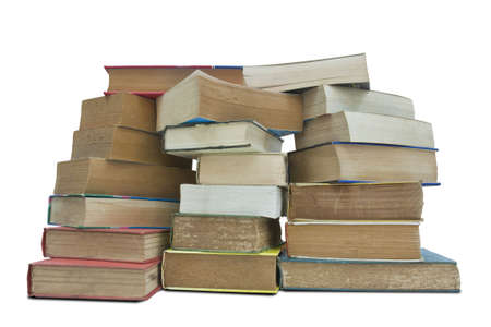 Old books isolated on white background with clipping path photo