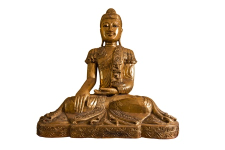 ancient yoga: Buddha isolated on white background with clipping path