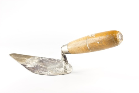 Old dirty trowel isolated on white background Stock Photo - 9687174