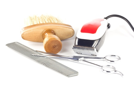 Barber tool set isolated on white background