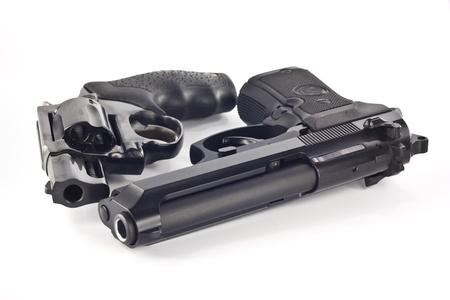 autos: Revolver and magazine gun  isolated on white background