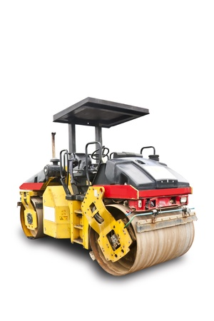 asphalt paving: Road roller isolated on white background with clipping path