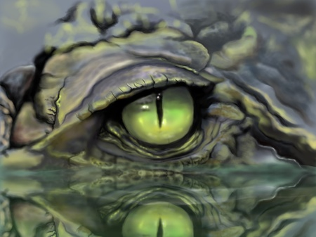 the reptile: Sketch and drawing eye of crocodile Stock Photo