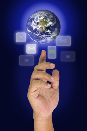 fingertip: Earth on finger tip and many button