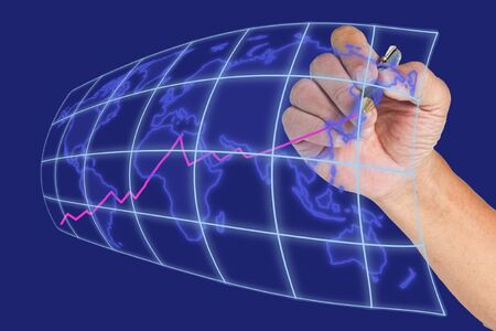 Hand drawing raise graph on blue world map background photo