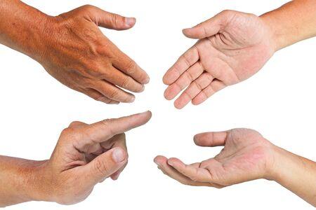manos limpias: Las manos aisladas en fondo blanco con trazado de recorte