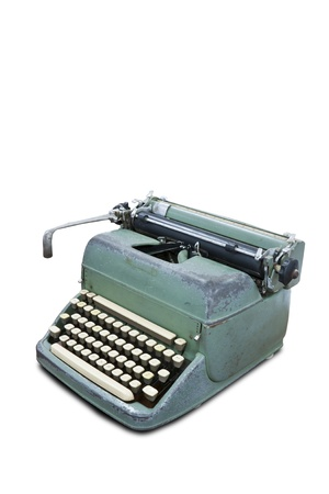 vintage typewriter: Old type device isolated on white background with clipping path