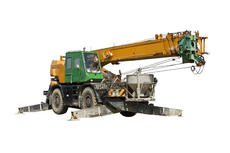 Crane truck isolated on white background photo