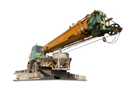 Crane truck isolated on white background photo
