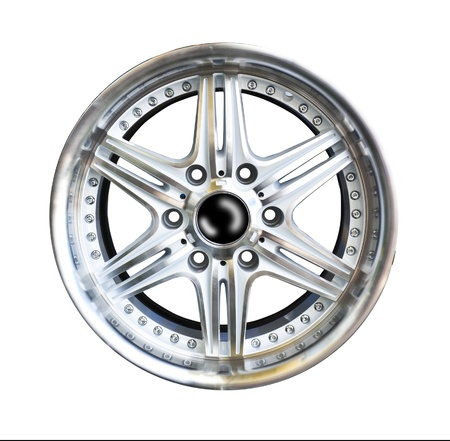 Alloy wheel with clipping path isolated on white background Stock Photo - 10530334