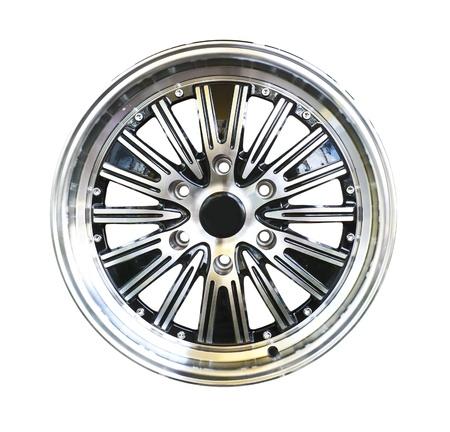 aluminum wheels: Rueda de aleaci�n con trazado de recorte aislada sobre fondo blanco Foto de archivo