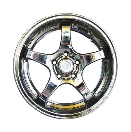 aluminum wheels: Llantas de aleaci�n, con trazado de recorte sobre fondo blanco Foto de archivo