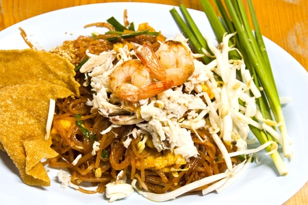 Fried noodle with shrimp and crab photo