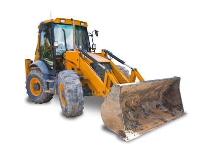 front loader: Tractor aisladas sobre fondo blanco con saturación camino