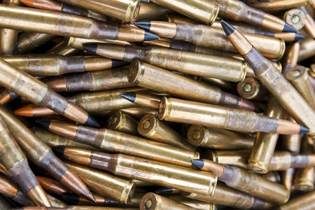 caliber: Stake of ammunition .30 inch caliber Stock Photo