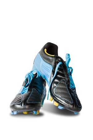soccer cleats: Football shoes on white background  Stock Photo