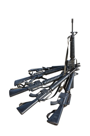 Machine guns  M.16 isolated on white background  Stock Photo - 12545085