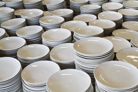 Pile of white ceramic plates