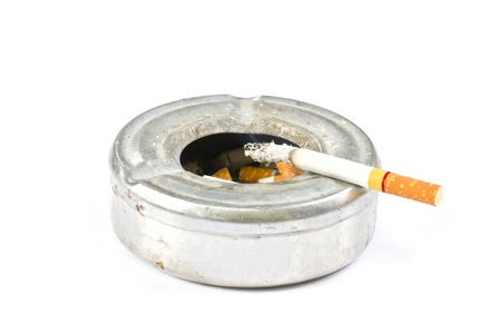 ashes: Cigarette on ash tray on white background Stock Photo