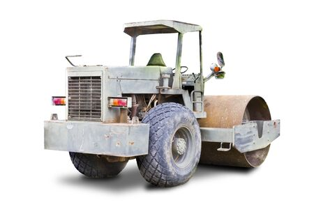 commercial activity: Steamroller isolated on white background