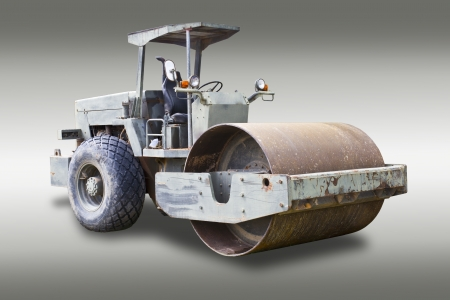 steamroller: Steamroller isolated on gray background