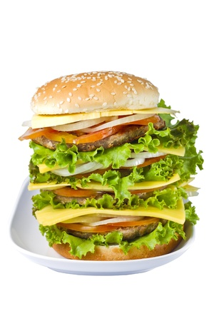 Big hamburger isolated on white background Stock Photo - 14319620