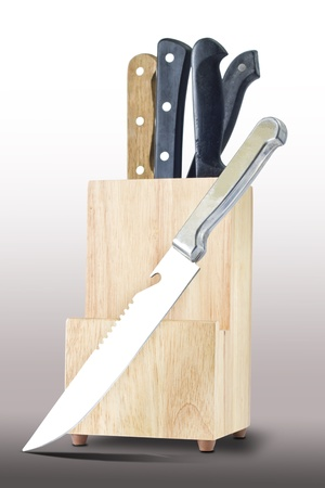 chrome molybdenum: Knifes and wooden box isolated on gray background white