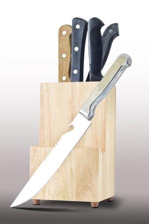 chrome vanadium: Knifes and wooden box isolated on gray background white