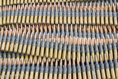munition: Stack of  machine gun ammunitions Stock Photo