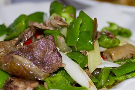 Fried pork with green chili Chinese food photo