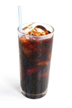 Black coffee with ice on white background