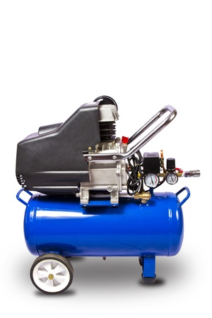 pneumatic: Air compressor isolated on white background with clipping path Stock Photo