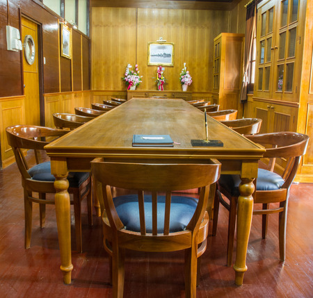 Old Wooden Conference Table With Leather Chairs In Wooden Meeting - Old conference table