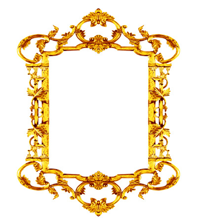 Gold picture frame antique on white background photo