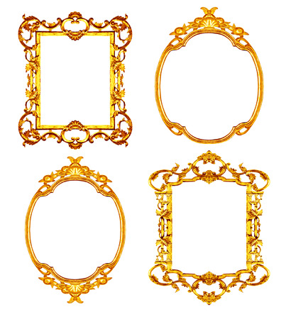 Set of golden frame isolated on white background photo