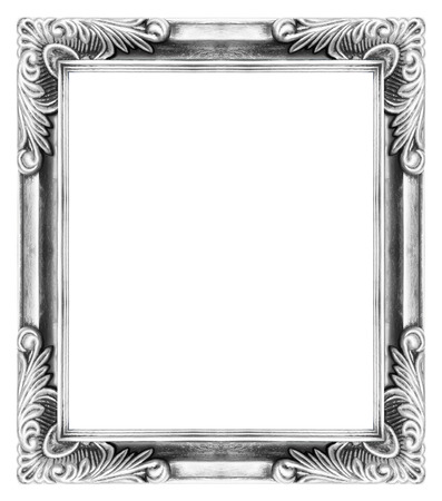 Antique wooden frame with a beautiful color on a white background. photo