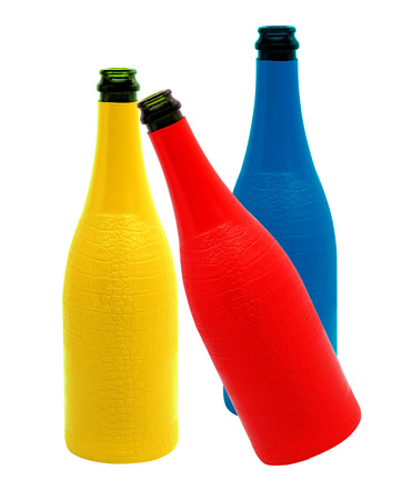 Colorful glass bottles. photo