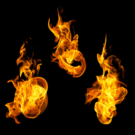 High resolution fire collection of isolated flames on black background photo