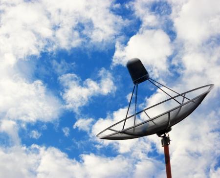 Satellite dish sky communication technology network image background  photo