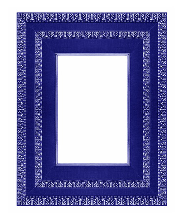 Antique wooden picture frame with a beautiful color on a white background. photo
