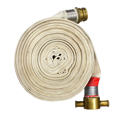 fire fighter hose isolated on the white background Reklamní fotografie