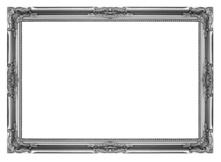 Silver wooden picture frame isolated on white background Reklamní fotografie