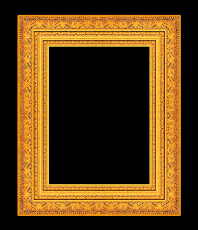 black picture frame: picture frame ancient vintage isolated on black background. Stock Photo