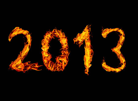 2013 year text High resolution fire collection isolated on black background photo