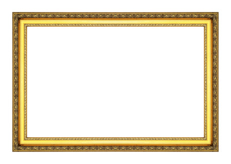Old antique gold frame on the white background photo